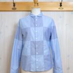 sunao kuwahara|チェッカーオックス パッチワークシャツ -Blue-