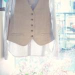 【再々入荷】ストライプBDシャツ、リネンベスト|haupia