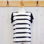 LEFTY|VIS × ブライトPE リボンJQ フレンチスリーブTshirt