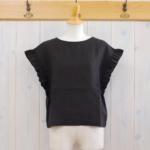 miho umezawa|SUN DRY LINEN frill sleeve blouse -Black-