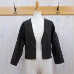 miho umezawa|LINEN BAMBOO CLOTH off shoulder jacket -Black-