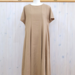 miho umezawa|SILK LINEN CLOTH panel flare dress -camel-
