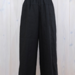 miho umezawa|40 TWILL LINEN  straight wide pants -black-