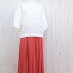 miho umezawa|HERRINGBONE LINEN half sleeve T-blouse -white-