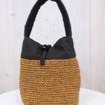 Ena Kuam|リネンコマ編みバッグ 小 -Black-