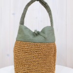 Ena Kuam|リネンコマ編みバッグ 小 -Green-