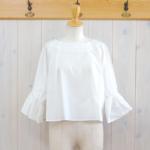 nume|コットン ギャザースリーブシャツ -Off White-