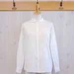 TINA and SUSIE|ローンガーゼ ショールカラーシャツ -Off White-