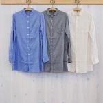 WashWash|シャンブレーツイル クリンクル チュニックシャツ
