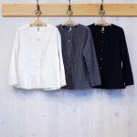 WashWash|ブラッシュド コットン クリンクル バンドカラーシャツ