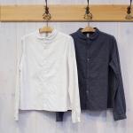 WashWash|ブラッシュド コットン クリンクル ラウンドカラーシャツ
