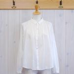 WashWash|白プリント ヨークギャザーシャツ