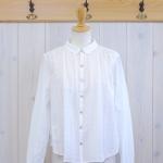WashWash|ローンレースストライプ柄 ヨークギャザーシャツ